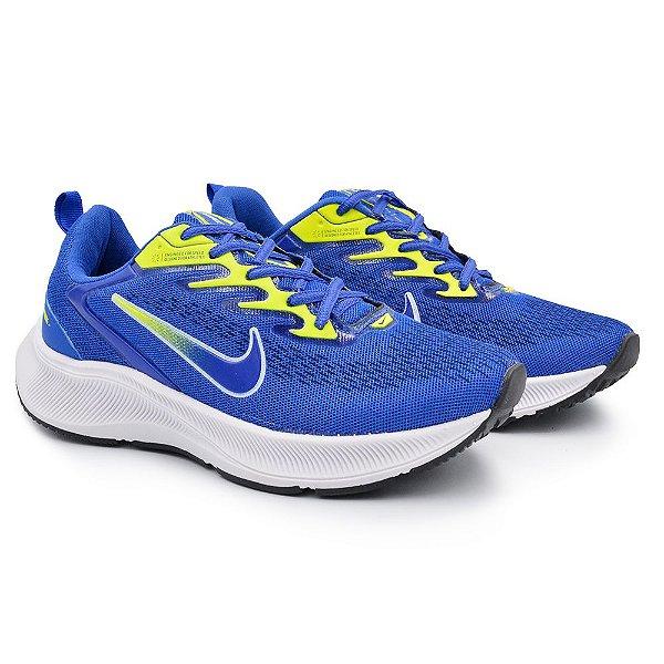 Tênis Masculino Caminhada Esportivo Nike Zoom Winflo 7- Azul/Verde Limão