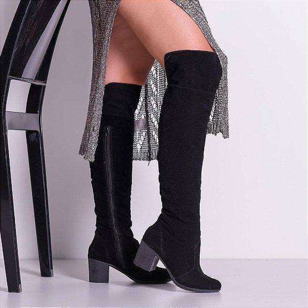 Bota Feminina Cano Alto Over The Knee Com Salto Ana Amaral MOD:790- Preto