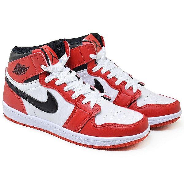 Tênis Cano Alto Masculino Nike Air Jordan 1 MID - Vermelho/Branco