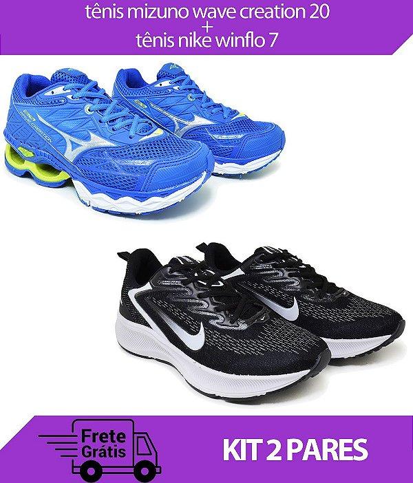 Kit 2 Pares - Tênis Nike Winflo 7 Preto/Branco + Tênis Mizuno Wave Creation 20 Azul