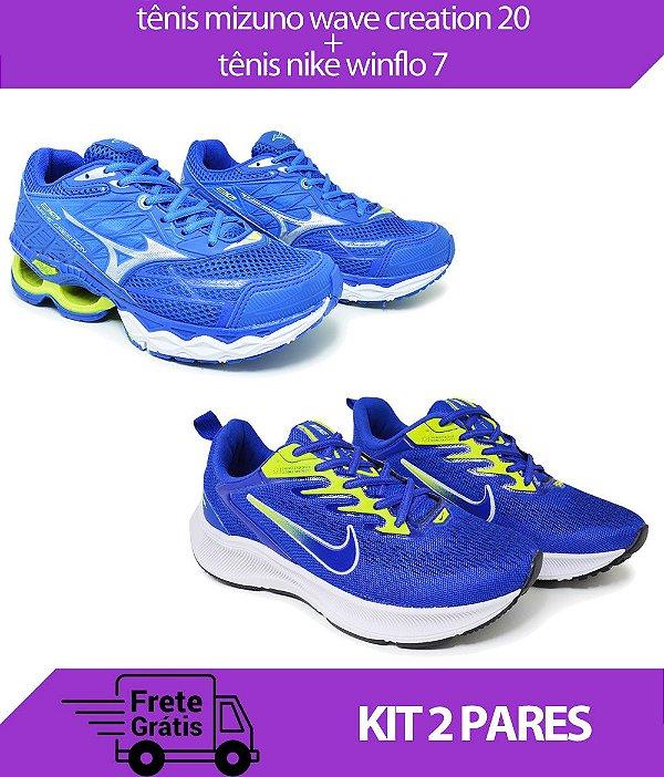 Kit 2 Pares - Tênis Nike Winflo 7 Azul + Tênis Mizuno Wave Creation 20 Marinho