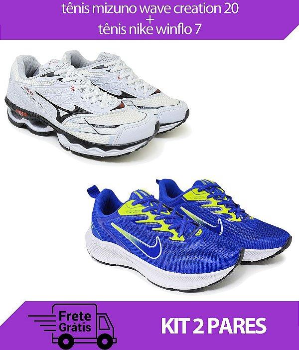Kit 2 Pares - Tênis Nike Winflo 7 Azul + Tênis Mizuno Wave Creation 20 Branco