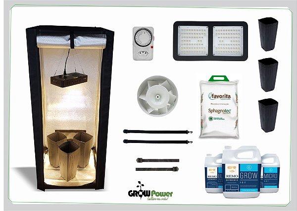 KIT LED EASY TO GROW 60x60x140 - 120w Quantum Board Bivolt