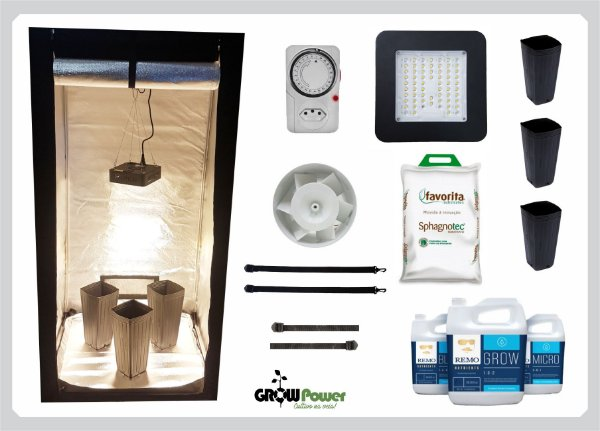 KIT LED EASY TO GROW 80x80x160 - 60w Quantum Board Bivolt