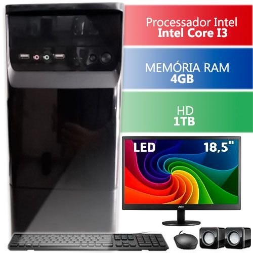 Computador Com Monitor Led 18.5 infoteclan Intel Core I3 4gb Hd 1tb