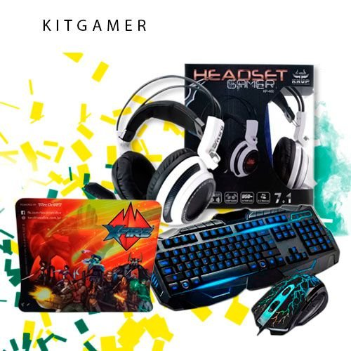 kitGamer Teclado V100 Headphone kup 400 mouse pad Tecdrive