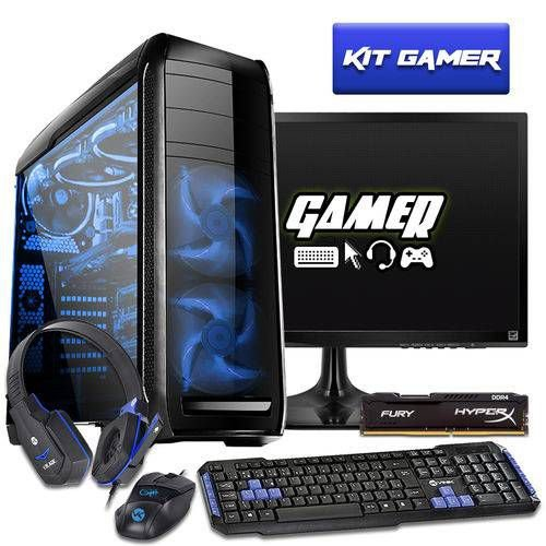 COMPUTADOR GAMER INTEL I5 7400 16GB HYPERX HD 1TB GTX 1050TI 500W MONITOR 21