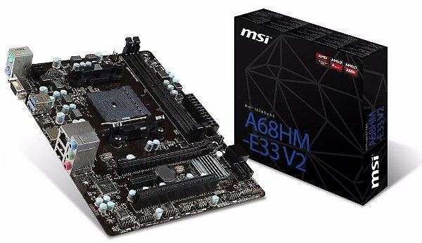 Placa Mãe MSI A68HM-E33 V2 FM2+/2xDDR3/PCI-E/VGA/HDMI/USB/SATA