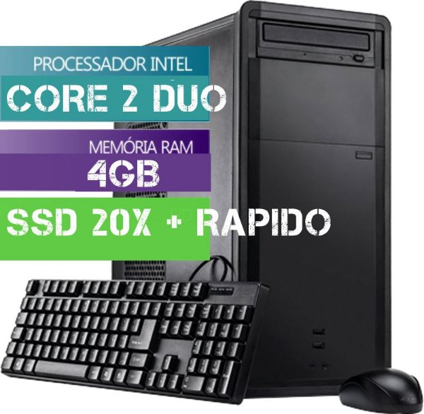 Cpu Computador Desktop Intel Core 2 Duo 4gb Hd Ssd 20x + Rap