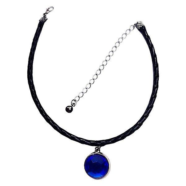 Gargantilha Coleira Choker Pedra Azul