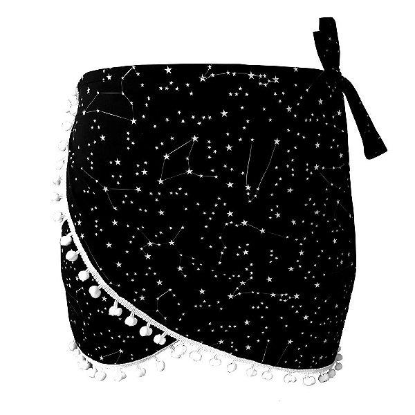 Saída de Praia Saia Pareô Constelação Estrelas Preto