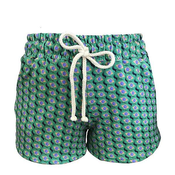 Shorts Saída de Praia Bandeira Brasil Verde