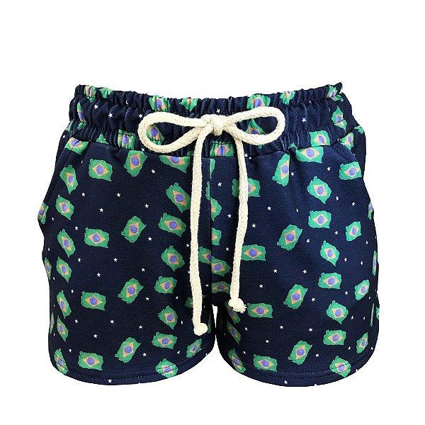 Shorts Saída de Praia Estrelas Azul Marinho