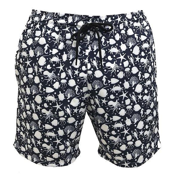 Shorts Bermuda Masculina de Praia Fundo do Mar Azul