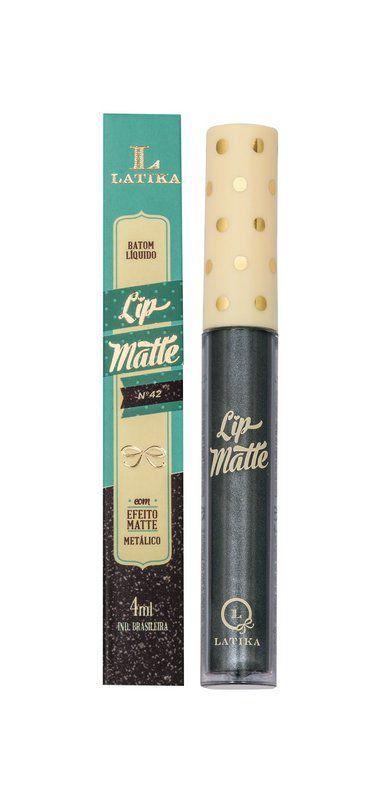 Batom Líquido Latika Lip Matte Preto Metalico nº42