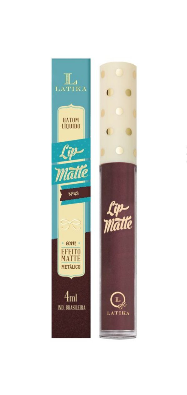Batom Líquido Latika Lip Matte Vinho Metalico nº 43