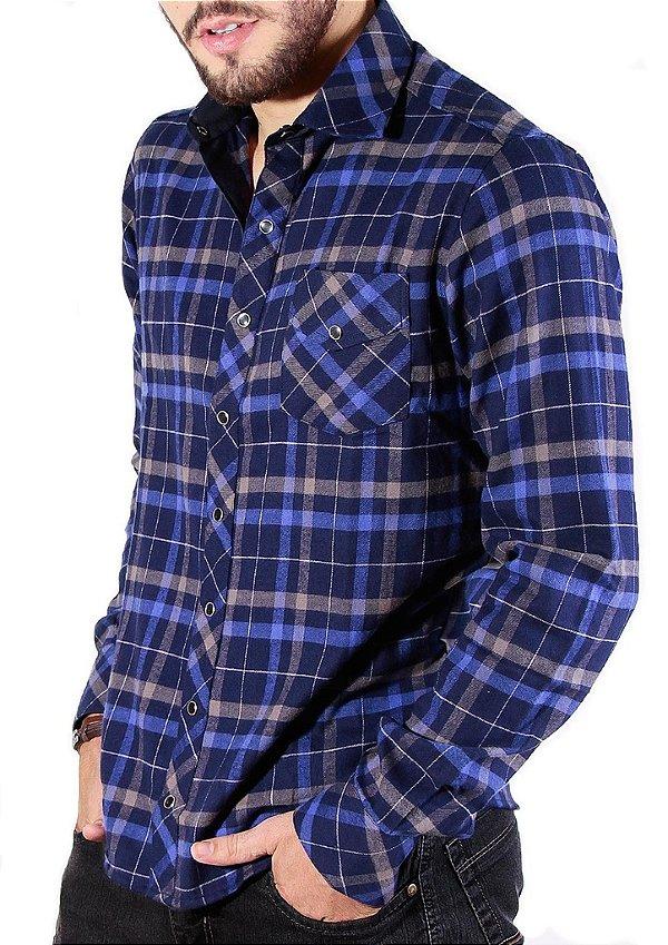 27ba7d770cf95 Camisa Xadrez Masculina Slim de Flanela Azul Marinho - Tony Menswear ...