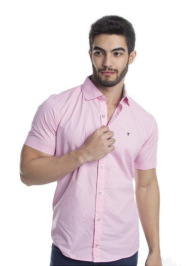 ea6c1d6e58 Camisa Masculina Slim Rosa Manga Curta - Tony Menswear - Comprar ...