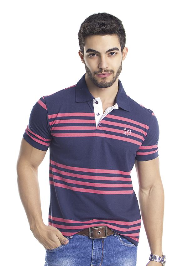 19eaa3aba Camisa Polo Masculina Listrada Rapport Azul com Listra Rosa - Tony ...