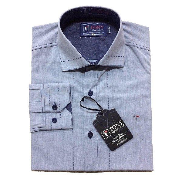 492895eeb4 Camisa Social Masculina Slim com Detalhe de Pesponto cor Azul Claro ...