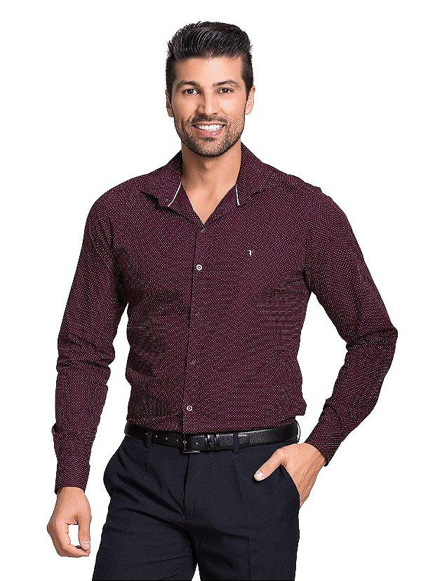 47f3ef4717 Camisa Manga Longa Estampada de Poá Cor Vinho - Tony Menswear ...