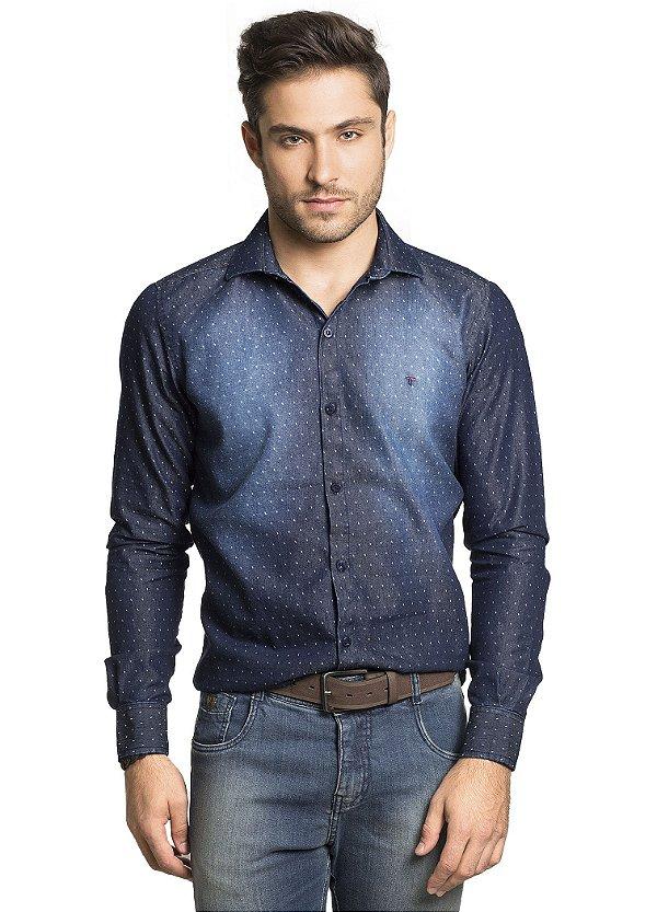 763202c648 Camisa Slim Manga Longa em Jeans Estampado de Poá - Tony Menswear ...