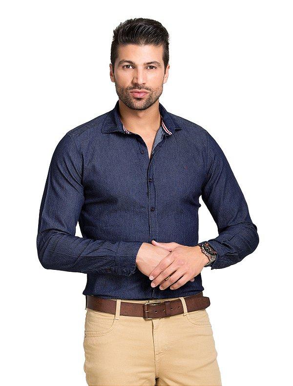 Camisa Jeans Manga Longa com Elastano Slim Fit - Tony Menswear ... 8a34fc0494e