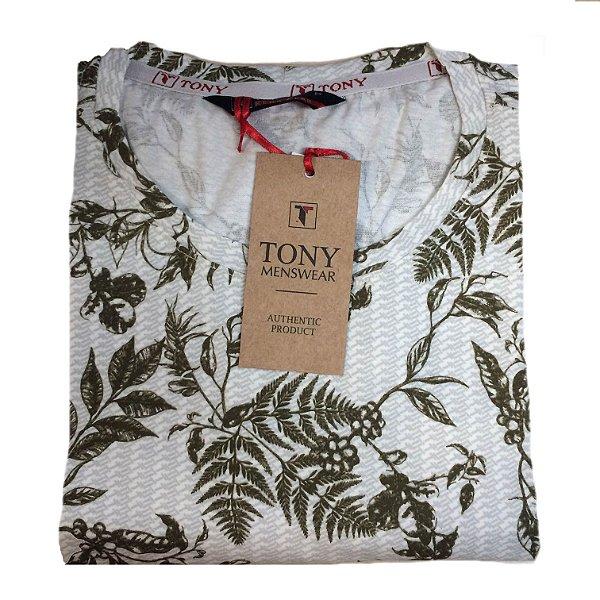 Camiseta Estampada Folhagem de Algodão Verde Militar - Tony Menswear ... b0cbc41d061d8
