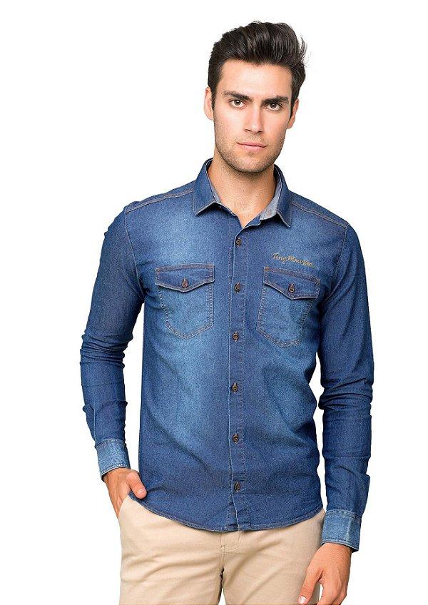 Camisa Jeans Slim Fit com Dois Bolsos