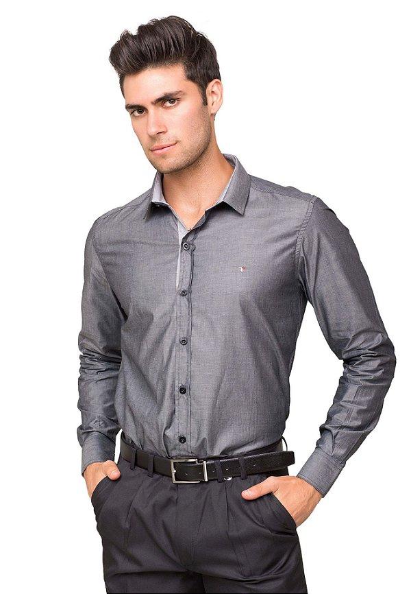 d02648b084 Camisa Social Masculina Tony Menswear Acetinada Algodão Fio 60 Cinza ...