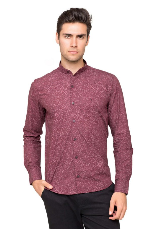 d8546c132a94f Camisa Slim Fit Gola de Padre Tony Menswear Estampada Bordô - Tony ...