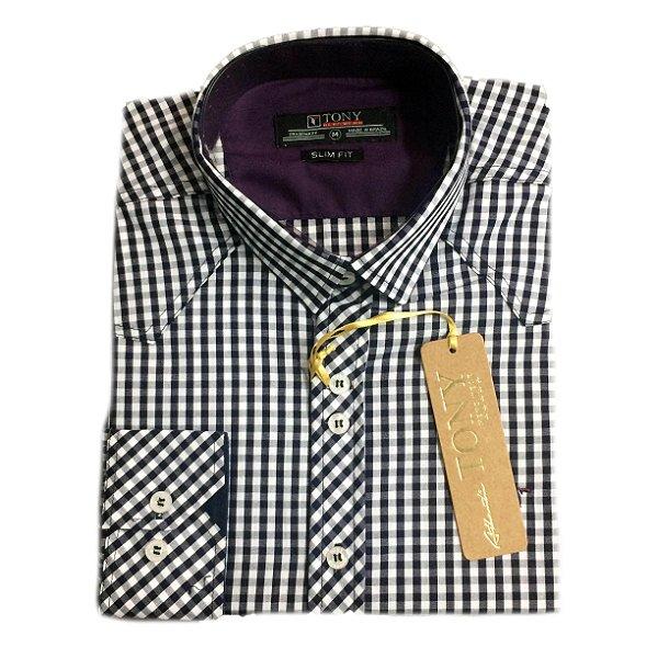 5e1e4ff2ae Camisa Masculina Xadrez Slim Fit Casual Algodão - Tony Menswear ...