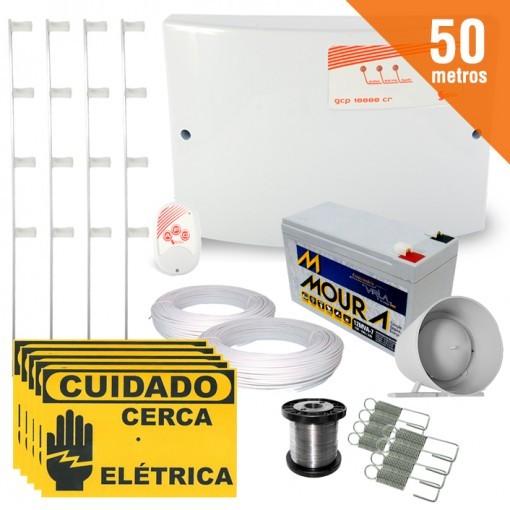 Kit Cerca Elétrica Completo P/ 50 Metros de Muro Central GCP 10000 Light - SecuriService