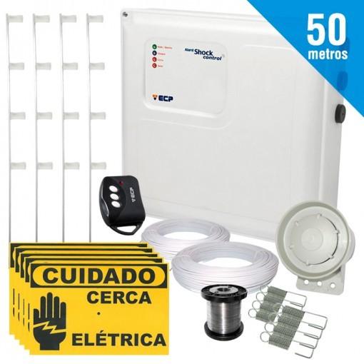 Kit Cerca Eletrica Shock Control ECP Para 50 Metros de Muro Completo + Brinde (Sem Bateria)