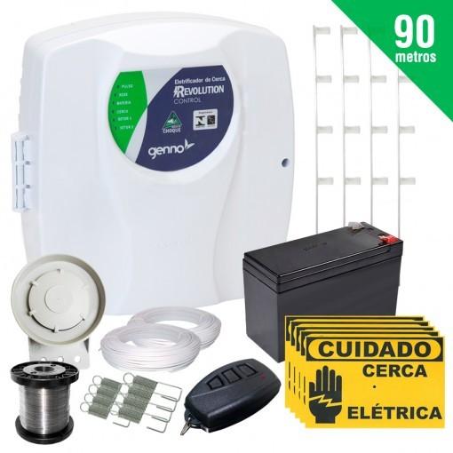 Kit Cerca Elétrica Revolution Control Genno 90 Metros + Brinde (Com Bateria)