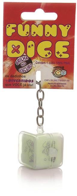 Funny dice - dado chaveiro com posições de cartoon; brilha no escuro - emb. com 1 unidade