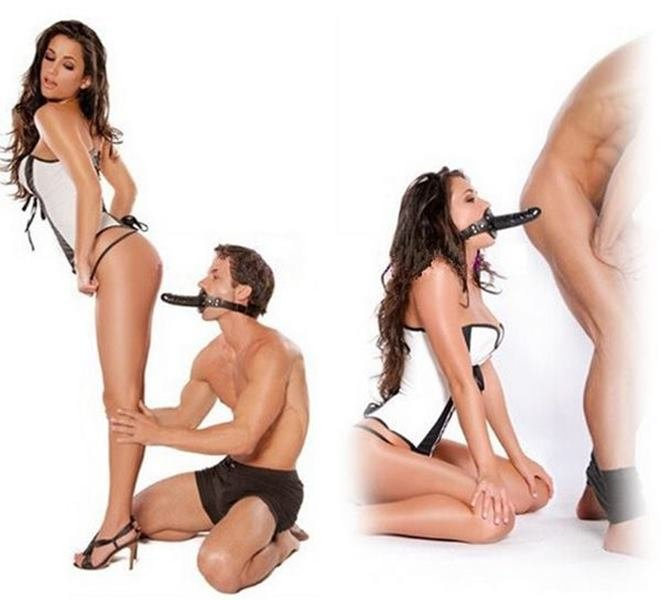 Mordaça com pênis plug anal - ultimate bondage - evil mouth strap