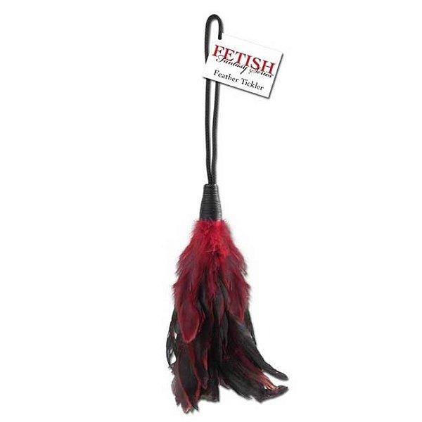 Espanador com penas - feather tickler red
