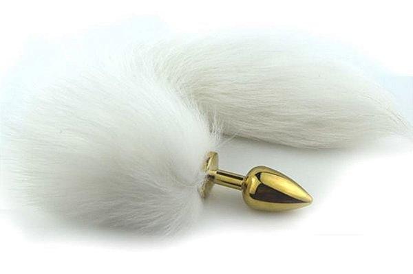 Plug anal rabo de raposa polar branco (plug  pequeno 7.5 x 2.8 cm - cor dourado) - cosplay