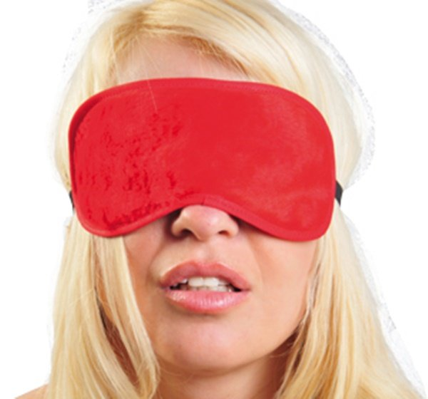 Máscara em pelúcia vermelha