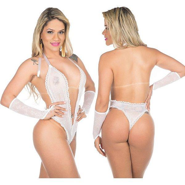 Body fashion lingerie sensual sexy - cor branca