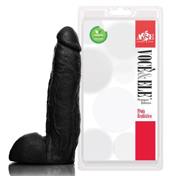 Pênis realística ator pornô j.holmes 27x5,5 cm com escroto - cor preta