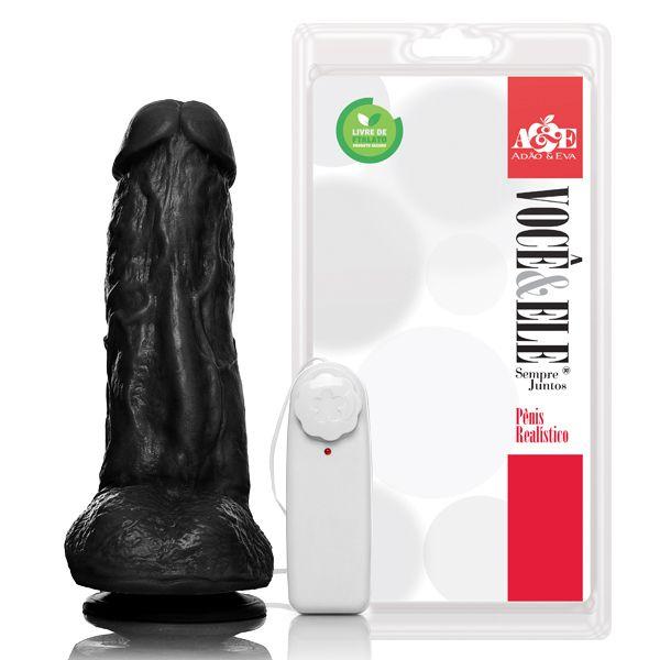 Pênis com escroto, ventosa e vibro Kong - 19,5x5,5 cm - cor preta
