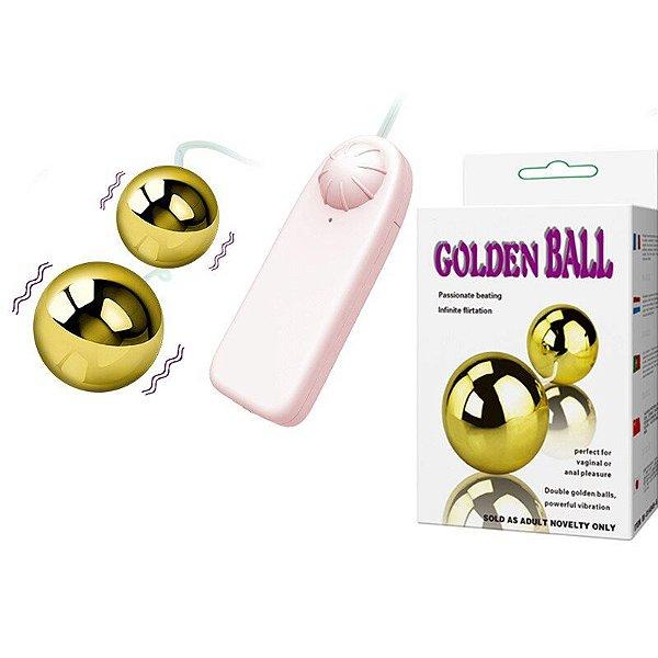 BAILE GOLDEN BALL - BOLAS PARA POMPOAR COM VIBRO MULTIVELOCIDADE | COR: DOURADO