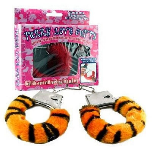 Algemas Reguláveis com Chaves e Pelúcia Hand Cuffs - cor tigre onça