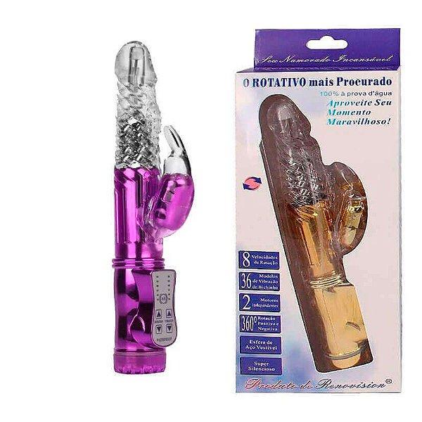 Vibrador Rotativo RECARREGÁVEL com 8 Níveis de Rotação e 36 Vibrações - cor lilás