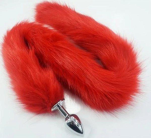 Plug Anal Rabo de Raposa com cauda de 78 cm - cor vermelha