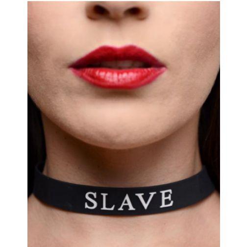 COLAR AJUSTÁVEL EM SILICONE - SLAVE - COR PRETO
