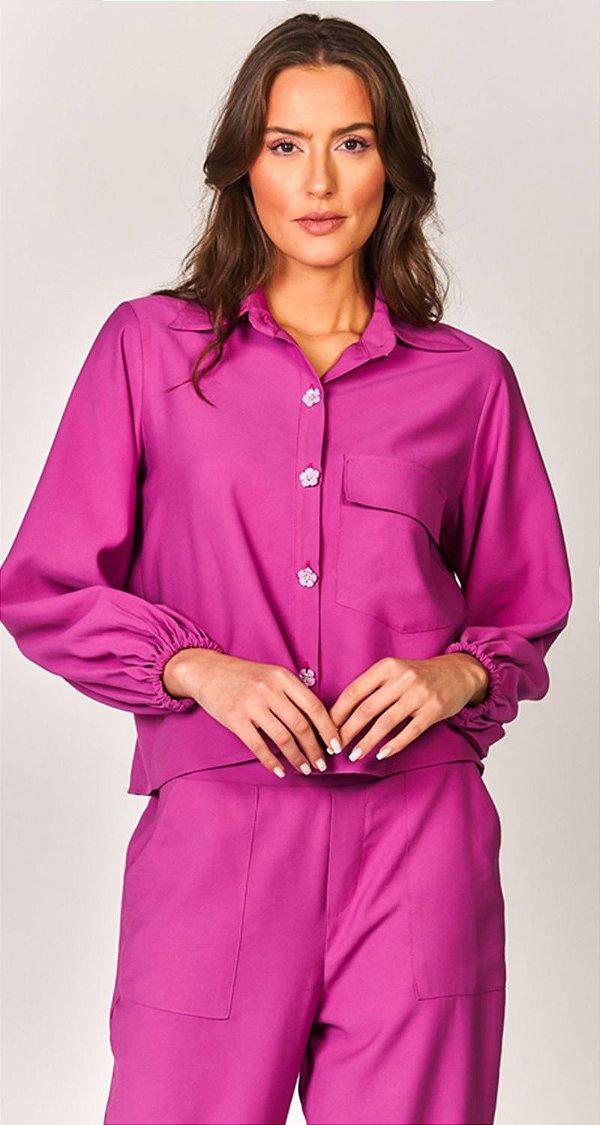 Camisa Viscose Botões Metal Rosas Santorini   NEXT STOP BLESSED