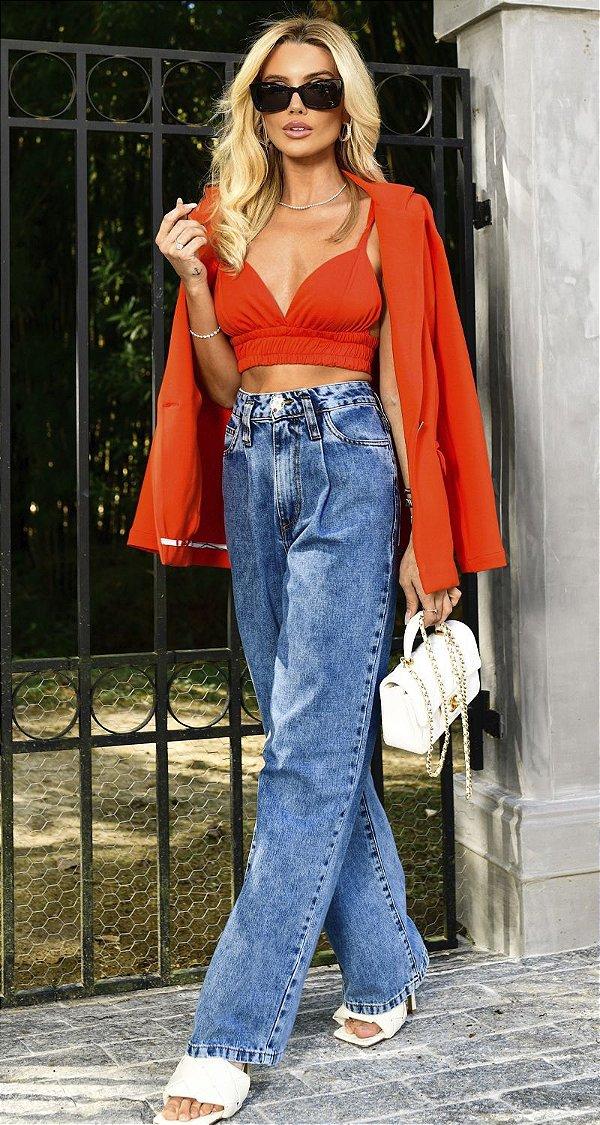 Calça Jeans Wide Leg Texas   NEXT STOP BLESSED